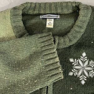 Croft & Barrow PL Womens Cardigan Full Zip Snowman